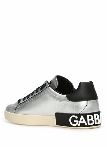 Dolce&Gabbana Dolce&Gabbana Portofino  Logo Baskılı Erkek Deri Sneaker 101557003 Gümüş
